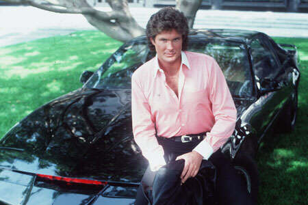 David Hasselhoff as Michael Knight with K.I.T.T. from the TV series Knight Rider