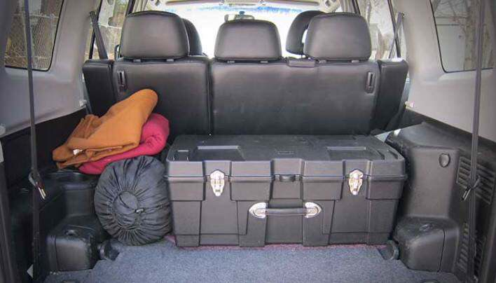 Survival gear in the back of an SUV.